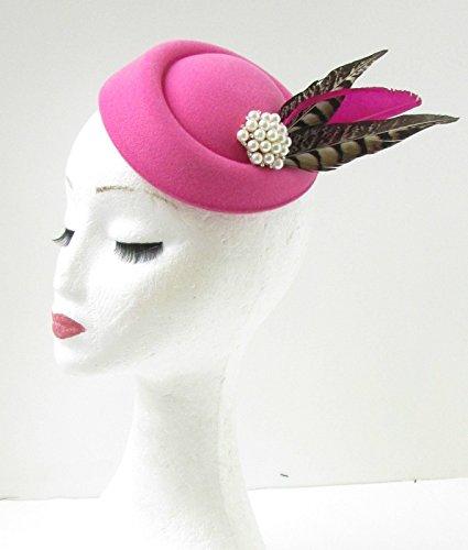 Hot Rose Marron Blanc Faisan Pilulier Bibi Chapeau Races Pince à cheveux vintage 9 Ah * * * * * * * * exclusivement vendu par - Beauté * * * * * * * *