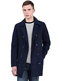 Sourcingmap Allegra K Men Peaked Lapel Fold-Down Collar Double-Breasted Full Lined Pea Coat