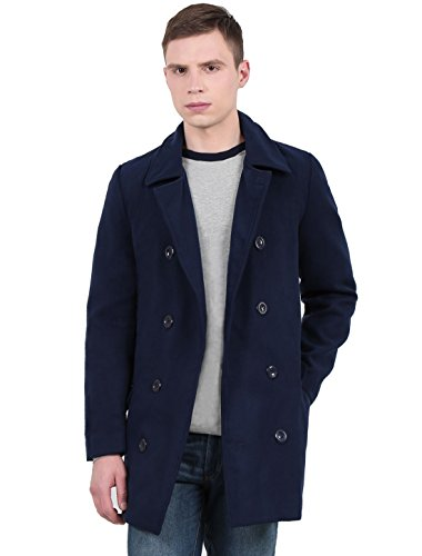 Wool Blend Trench (Allegra K Herren Langarm Umlegekragen Zweireiher beiläufig Kammgarn Mantel, Navy Blau/S (EU 44))