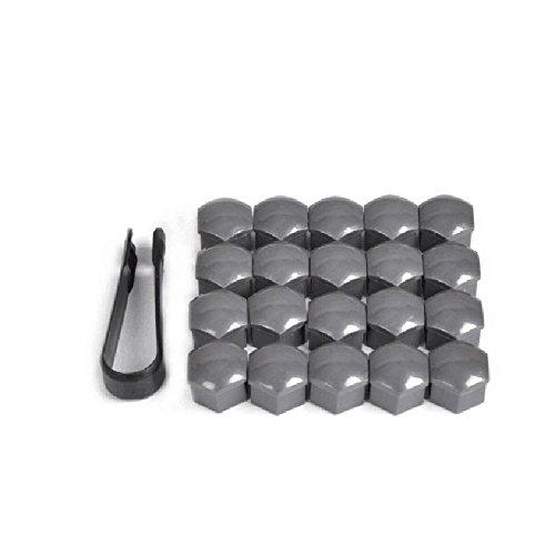Lot de 20 capuchons universels Wuudi pour écrous de roue - 21 mm - Pince noire