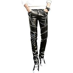 jkqa pantalones de Skinny de piel sintética negro Biker Hombre negro negro 14