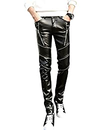 jkqa pantalones de Skinny de piel sintética negro Biker Hombre
