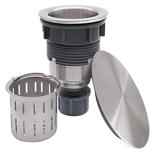 Spülbeckenstopfen, flacher Dekordeckel 304 Edelstahl-Spülbeckenabflussstopfen, passend für 3,5-Zoll-Standardsieb aus gebürstetem Nickel, Edelstahl-Abflussset -