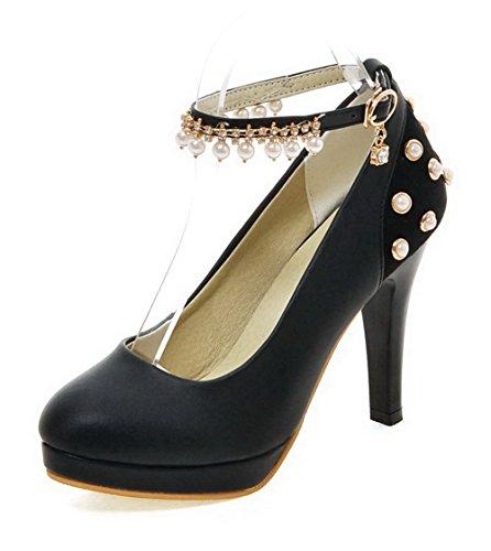 VogueZone009 Femme Boucle à Talon Haut Pu Cuir Mosaïque Rond Chaussures Légeres Noir