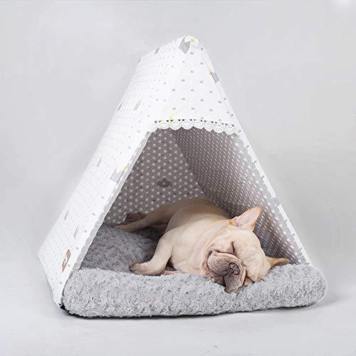 FCYQBF Haustierzelt für Hunde und Katzen, abnehmbares Hundebett mit Baumwoll-Canvas, warme Matten für kleine und mittelgroße Haustiere, Familien oder Camping - Plüsch-top-matratze