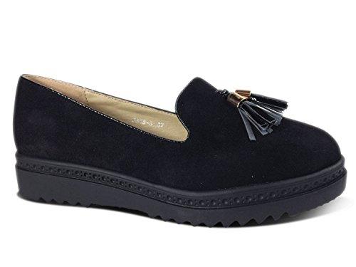 Damen Slipper Plateau Sneakers Ballerinas Glitzer Nieten ST551 Schwarz Quaste-N