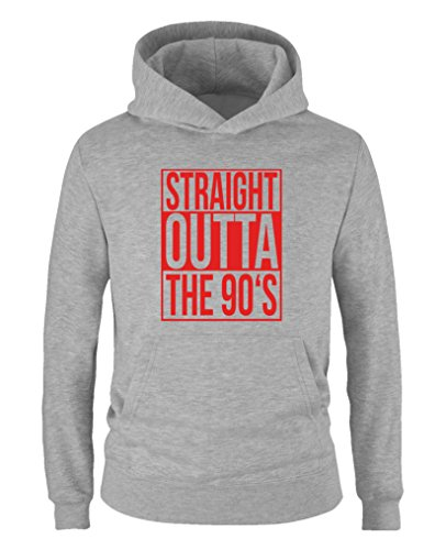 Comedy Shirts - Straight outta the 90s - Jungen Hoodie - Grau / Rot Gr. 110/116