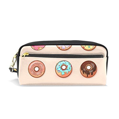 Isaoa Trousse de voyage Sac de maquillage Motif donut coloré Grande capacité Cadeau pour enfant fille femme
