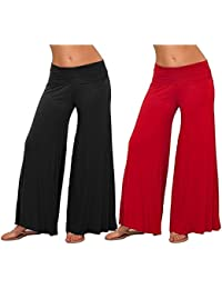 Mango People Products Indian Ethnic Rayon Designer Plain Casual Wear Palazzo Pant For Women's ( Black And Red...