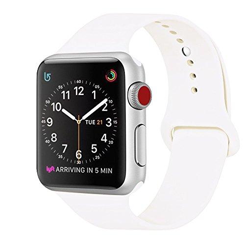 ZRO para Apple Watch Correa, Silicona Suave Reemplazo Sport Banda para 38mm iWatch Serie 3/ Serie 2/ Serie 1, Talla M/L, Blanco