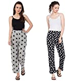 Fflirtygo Night Pyjamas for Women, Night Dress, Lounge Wear, Combo of Grey and Black Printed Cotton Pyjama (Pack of 2),–Soft Cotton Night Wear Combo Pack- Rs. 50/- Saving