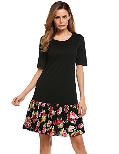 Meaneor Damen Casual Kleid mit Blumendruck Knielang Baumwolle Stretch  Schwarz