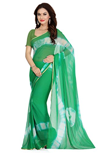 Ishin Faux Georgette Green Printed Women's Saree  available at amazon for Rs.299