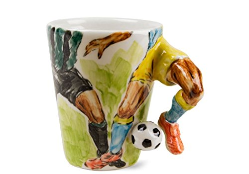 Fútbol Taza de Café Hecho a Mano 8oz Verde (10cm x 8cm)