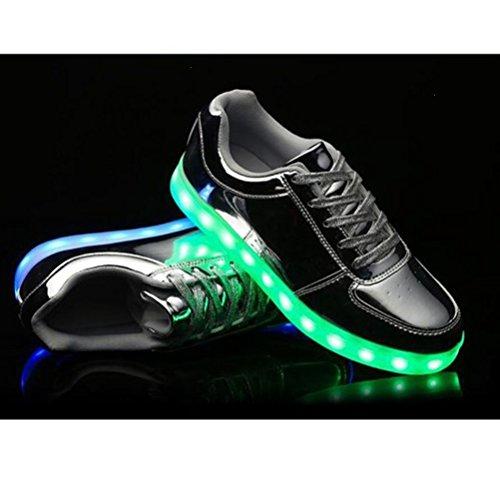 [Present:kleines Handtuch]JUNGLEST® 7 Farbe Lackleder High Top USB Aufladen LED Leuchtend Sport Schuhe Sportschuhe Sneaker Turnschuhe für Unisex-Erwachsene H Silber