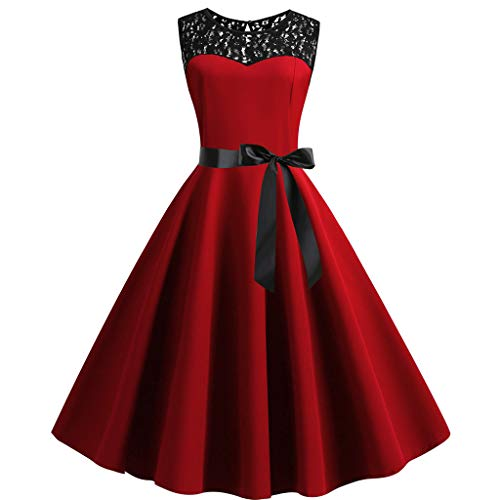 os Vintage Spitzen Abendkleider Cocktail Party Floral Kleid(Rot-1,Small) ()