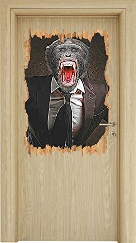 Cooler Affe im Smoking Holzdurchbruch im 3D-Look , Wand- oder Türaufkleber Format: 92x62cm, Wandsticker, Wandtattoo, Wanddekoration