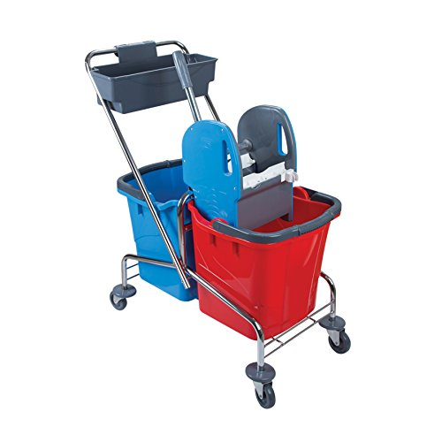 Doppelfahrwagen aus Chrom mit 2 Eimern in rot/blau (je 25 Liter), Reinigungswagen mit Presse für Wisch-Mopp und Ablagekorb, Putzwagen Set
