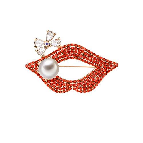 b7b9748223e63d Qinlee Kristall Brosches Perle Strass Lippen form Ansteckernadel Kleidung  Kragen Pin Brooch Pin Mädchen Schmuck für