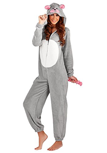Loungeable Damen Jumpsuit Overall Tiere Gesichter Öhrchen 3D Kapuze All-In-1 3D Mouse 79687 Silver Grey L