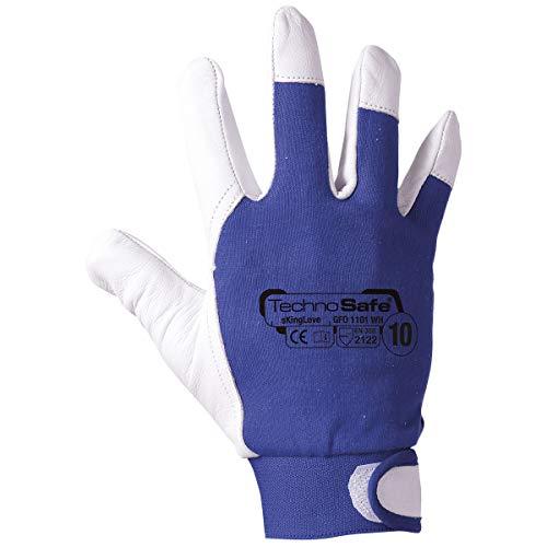 Technosafe gfo1101wh10C Handschuhe aus Leder Blume Schafen und Baumwolle mit Bündchen verstellbar und mit Lenkerklemmung, Violett/Weiß, 10, Set von 2Stück