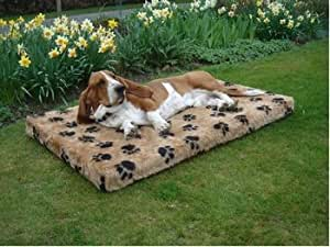 ExtraComfort Large Orthopaedic Memory Foam Dog Bed In Faux Fur/Pawprint 7cm (3 inches) Deep