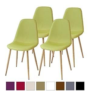 Albatros sedie da pranzo retr fano set di 4 sedie verde for Set sedie cucina