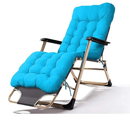 ZRKZ Relaxliege Mit Armlehnen, Klappstuhl Mittagspause Stuhl Tragbarer Außenklappbett Bürostuhl Campingbett Strandkorb Gewicht Max 120kg,Pearlcottonpad(Blue)-52 * 92 * 93CM