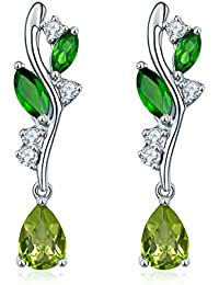 2c553eb8b Hutang Jewelry Sterling Silver Natural Chrome Diopside and Peridot Leaf  Earrings
