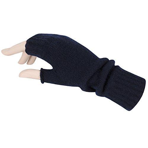 Fingerlose Damen-Handschuhe aus reiner Kaschmirwolle, hergestellt in Schottland, blau