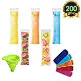 AUTOPkio Ice Popsicle Mold Bags Set - 200 pièces Ice Pop Sacs 1 Pcs Funnel 5 Pcs Ice...