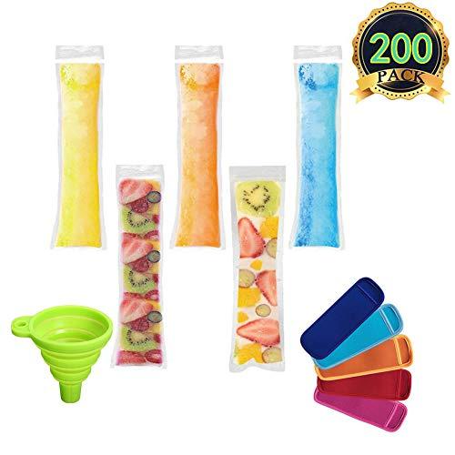 AUTOPkio Eis Popsicle Form Taschen, 200 Stück Ice Pop Taschen mit 1 Stück Trichter und 4 Stück Ice Pop Sleeves für Joghurt, Eis Süßigkeiten oder Freeze Pops, 22 x 6.2cm BPA Free Gefrierschrank Zip-Top -