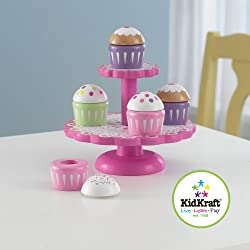 KidKraft Wooden Cupcake Stand with Cupcakes, Multi Color