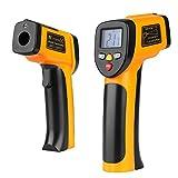 Flexzion lettura istantanea termometro temperatura Gun Tool senza contatto palmare digitale a infrarossi con mirino laser precisione display LCD 9V batteria giallo