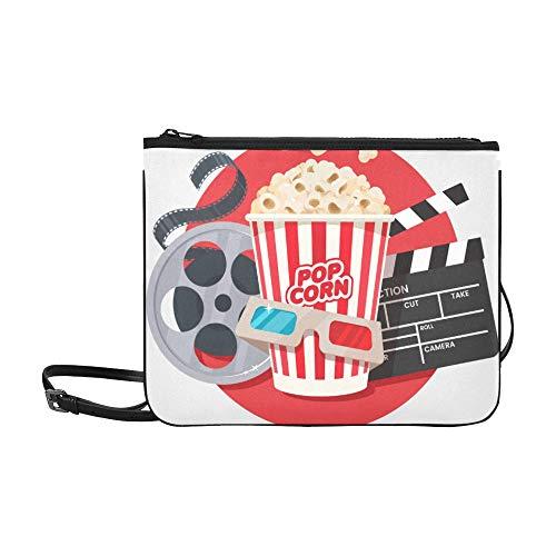 WOCNEMP Film Clapper und Film Reel Cinema Pattern benutzerdefinierte hochwertige Nylon dünne Clutch Crossbody Tasche Umhängetasche