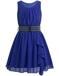 CHICTRY Vestido de Gasa Fiesta Sin Mangas con Cinturón para Niña Vestido de Princesa Ceremonia para Chica Dama de Honor