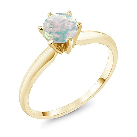 0.30 Ct Cabochon White Simulated Opal 14K Yellow Gold Engagement Solitaire Ring