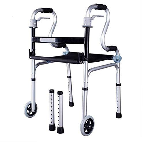 ZAIHW 2 Wheel Walker Rollator mit Fold Up Front Wheeled Unterstützung Einstellbare, leichte, tragbare, kompakte Senioren, Behinderte Medical Gehen Mobilitätshilfe - Push Button Schließen -