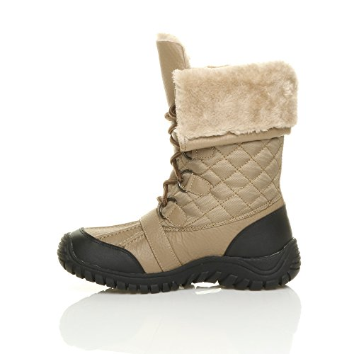 Femmes talon bas fourrure lacets hiver neige bottes mollet cheville pointure Chameau brun roux matelassé