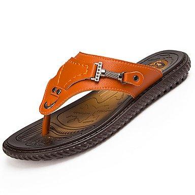 Slippers & amp da uomo;PU comfort estivo all'aperto Walking Tallone piano Arancione Nero Sotto 1in Sanda sandali US8.5-9 / EU41 / UK7.5-8 / CN42