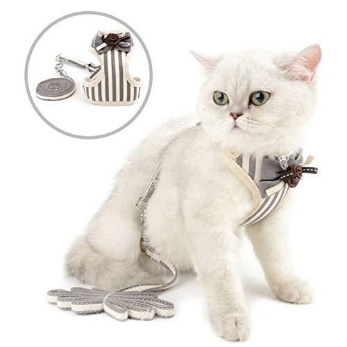 smalllee_lucky_store Universal-Geschirr und Leine, für Katzen und kleine Hunde, gestreift, mit Schleife, kein Ziehen, kein Herausziehen, aus der Weste, verstellbar, für Welpen, Kätzchen, L, - Grau Gestreiftes Kätzchen Kostüm