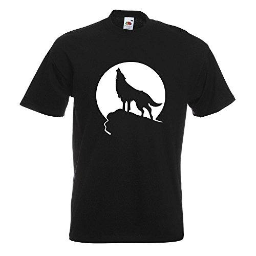 KIWISTAR - Heulender Wolf vor Mond T-Shirt in 15 verschiedenen Farben - Herren Funshirt bedruckt Design Sprüche Spruch Motive Oberteil Baumwolle Print Größe S M L XL XXL Schwarz