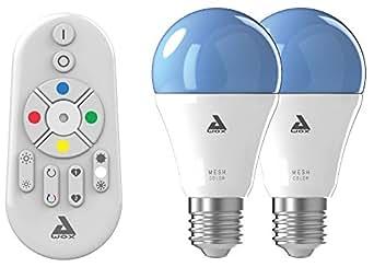 AwoX SKR2Lm-C9-E27 Smartlight Kit de 2 Ampoules Connectées Bluetooth Mesh + Télécommande E27 9 W  Blanc Résine/Plastique 64 x 116 mm