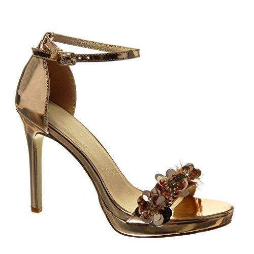 Angkorly Damen Schuhe Sandalen Pumpe - Stiletto - Sexy - Schick - Blumen - Strass - String Tanga Stiletto High Heel 10.5 cm Champagner