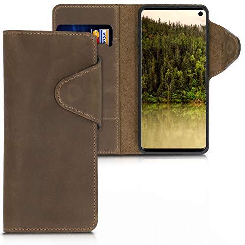 kalibri Cover per Samsung Galaxy S10 - Custodia Protettiva a Portafoglio per Cellulare in Vera Pelle con Porta Carte e Funzione Stand - Wallet Case