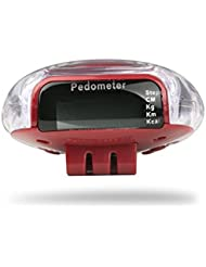 Incutex Schrittzähler Stepcounter Pedometer mit LCD Display in rot