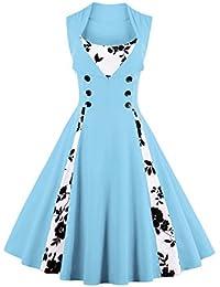 VERNASSA 50s Vestidos Vintage,Mujeres 1950s Vintage A-Line Rockabilly Clásico Verano Dress for