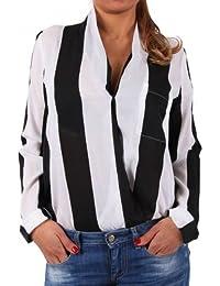 "'Rut & Circle Mujer Blusa ""Must Camille Wrap blous Black/White Stripes"