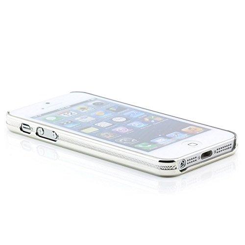 Saxonia Schutzhülle für Apple iPhone SE / 5 / 5S Slim Case Hülle Weiß Blume Chrom Blau