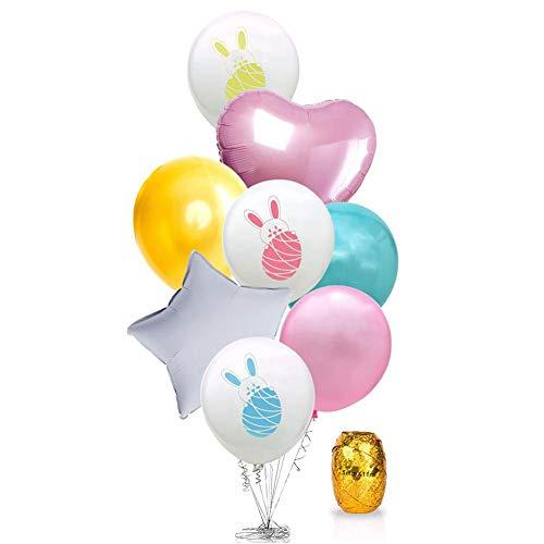 QueenHome Geburtstag Gold Ballons Rose Gold Party Supplies und Dekorationen von Bunny Cartoon weißen Kaninchen, Party Ostern Dekoration für Jungen und Mädchen